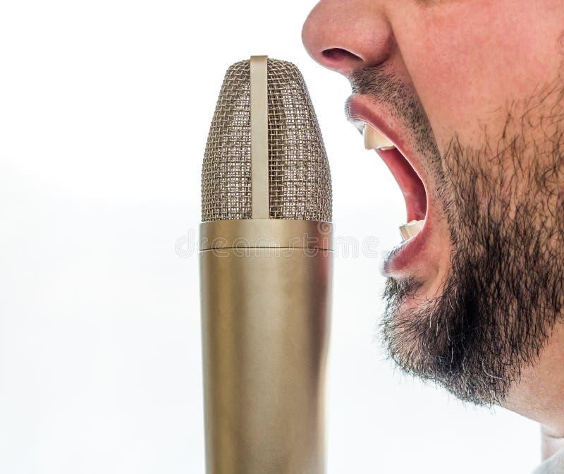 Varón que grita en un micrófono fotografía de archivo libre de regalías