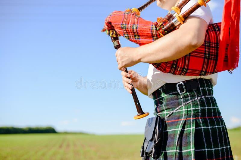 Varón que juega los tubos tradicionales escoceses en verde foto de archivo libre de regalías