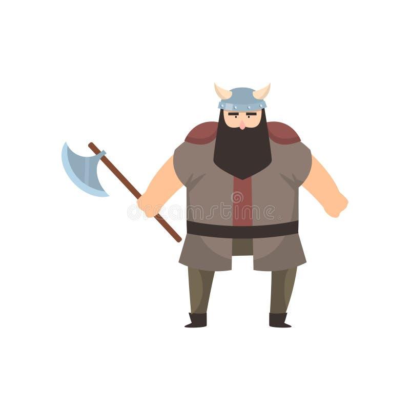 Varón vikingo con la constitución fuerte y soportes belicosos del aire que sostienen la hacha de armas sobre el fondo blanco ilustración del vector