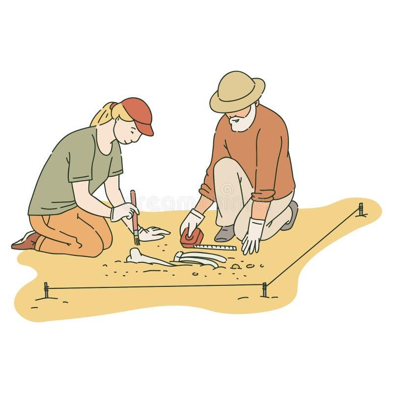 Varón y arqueólogos de sexo femenino que trabajan en sitio con estilo del bosquejo de las herramientas especiales ilustración del vector