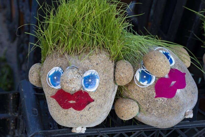 Varón y cabeza femenina de la hierba imagen de archivo