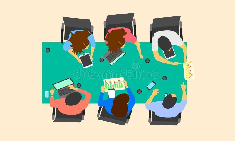 Varón y discusión de grupo femenina sobre proyecto de funcionamiento confirme el concepto de la marca del negocio de la orden Eje libre illustration