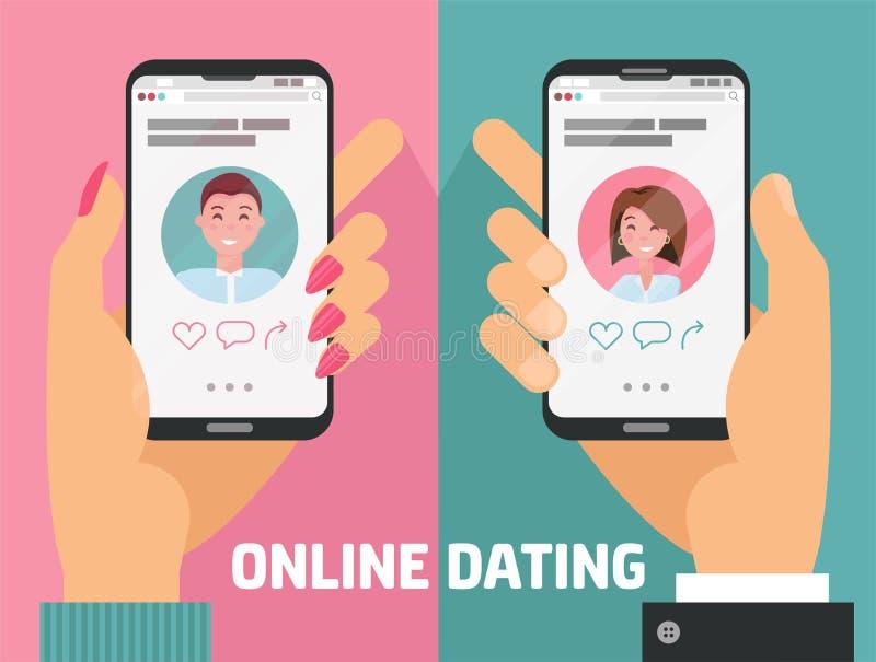 Varón y manos femeninas con los teléfonos con el app que fecha en línea Hombre, mujer que sostiene smartphones con fechar perfil  ilustración del vector