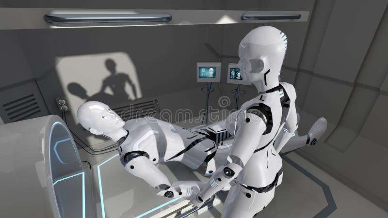 Varón y robots femeninos de la enfermera en una instalación médica futurista representación 3d stock de ilustración