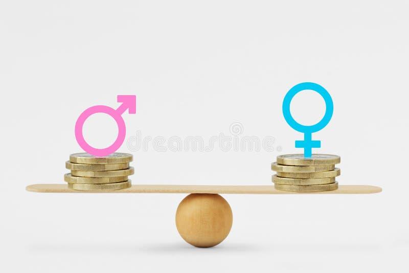 Varón y símbolos femeninos en pilas de monedas en escala de la balanza - concepto de la igualdad de la paga del género imagen de archivo