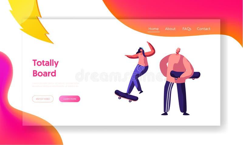 Varón y salto femenino de los caracteres del skater libre illustration