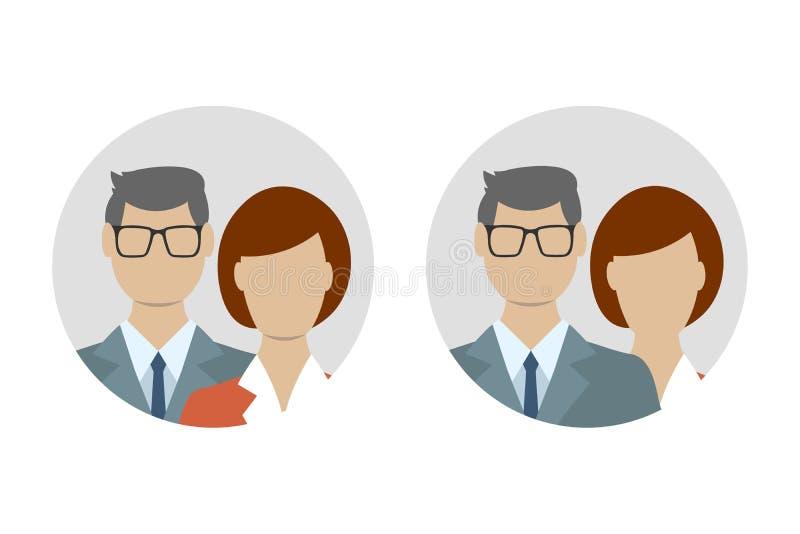 Varón y sistema plano femenino del icono Hombre de negocios con el avatar del usuario de la mujer Ilustración del vector libre illustration