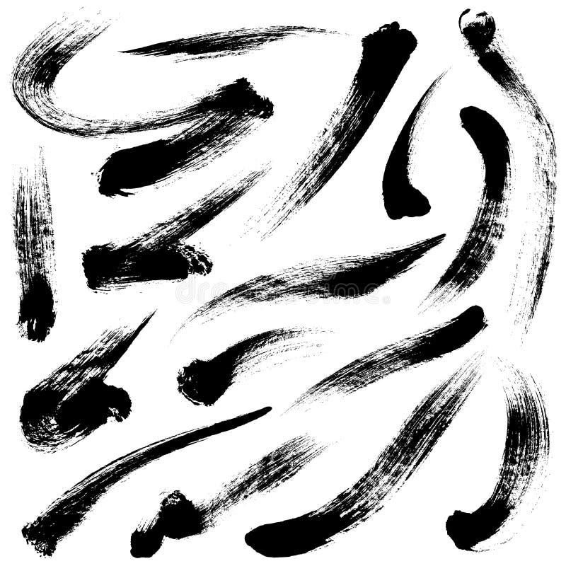 var den abstrakt borsten målad verklig slaglängdtextur till spårat vektor illustrationer