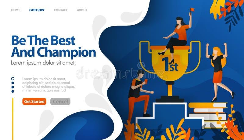 Var den bästa, och mästaren, trofén för nummer ett, priset för begrepp för vinnarevektorillustration kan vara bruk för som landar stock illustrationer