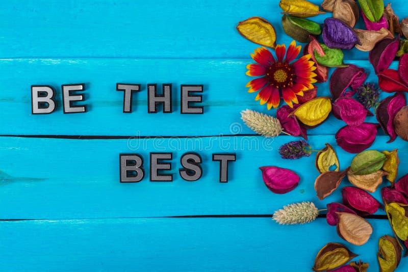 Var den bästa texten på blått trä med blomman royaltyfria bilder