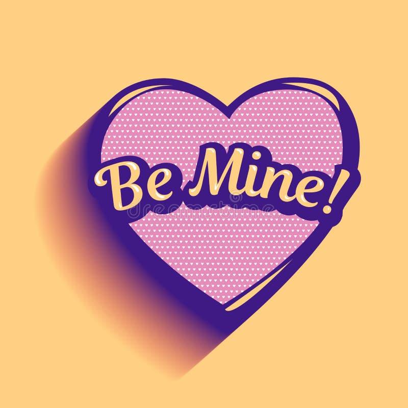 Var den min inskriften i rosa hjärta Kort för valentindag Förälskelsevektorillustration stock illustrationer