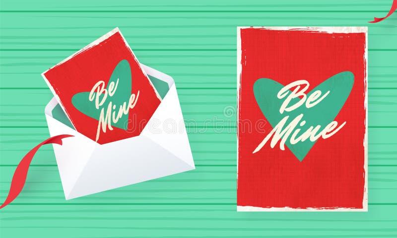 Var designen för minhälsningkortet i retro stil för valentins dag stock illustrationer