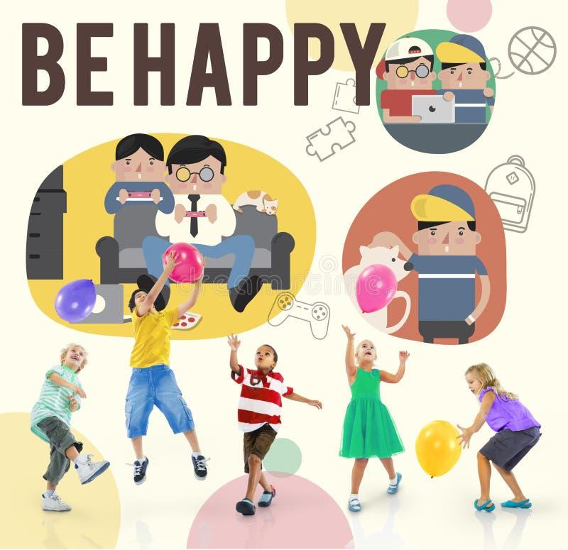 Var det lyckliga aktivitetsfritidsaktivitetbegreppet royaltyfri bild