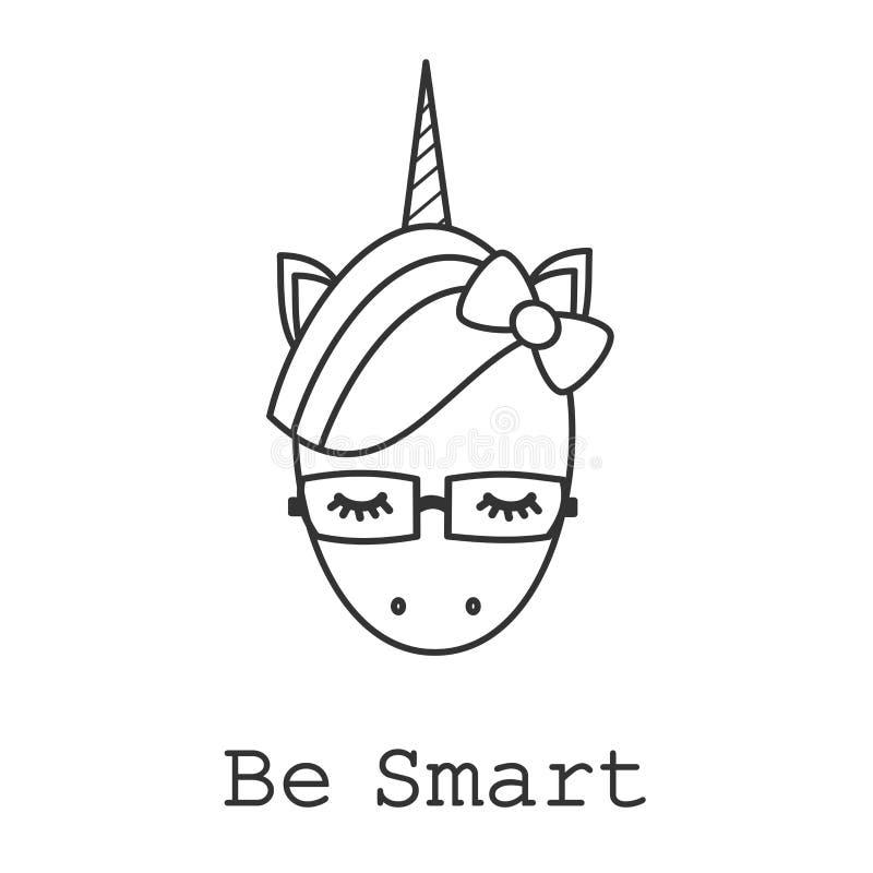 Var det smarta motivational slogankortet med den svartvita enhörningen för den gulliga tecknade filmen med glasögon royaltyfri illustrationer