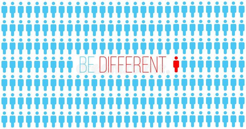Var eller tänk olikt Vara olikt i folkmassan, flyttning för framgång lyckat begrepp för egenart unik person Affär stock illustrationer