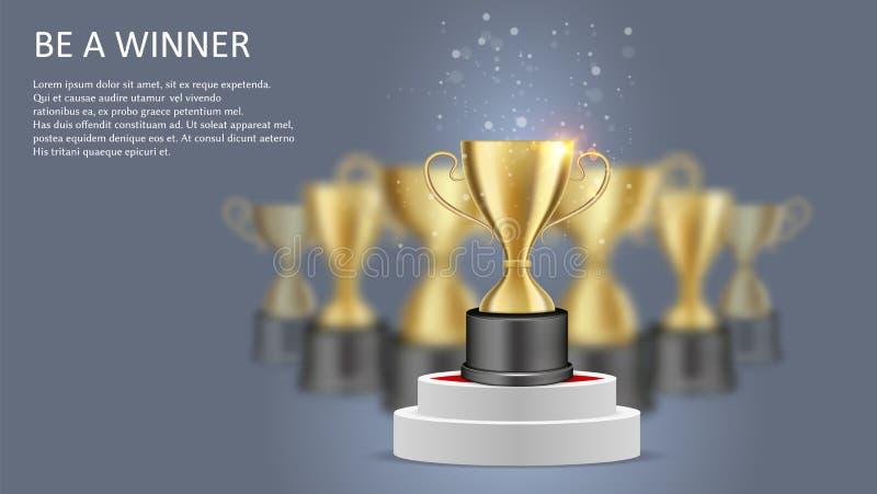 Var en mall för baner för vinnareaffischrengöringsduk, vektorillustration royaltyfri illustrationer