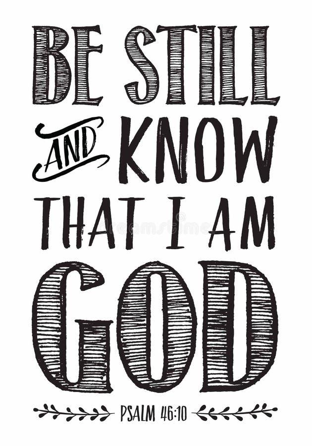 Var fortfarande och vet att jag är affischen för gudbibelSkriften royaltyfri illustrationer