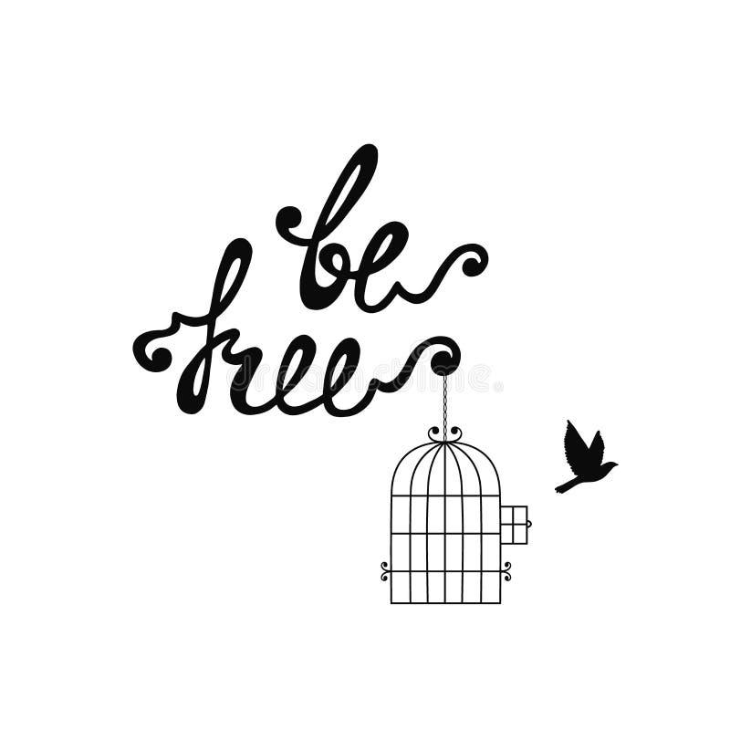 Var fri Inspirerande citationstecken om frihet vektor illustrationer