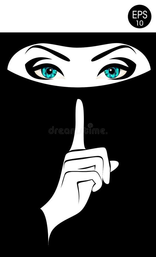 var god quiet Materielvektorkvinna i svart niqab vektor illustrationer