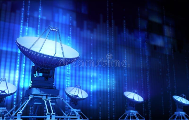 var installerade satelliten för hörndisk huset vektor illustrationer