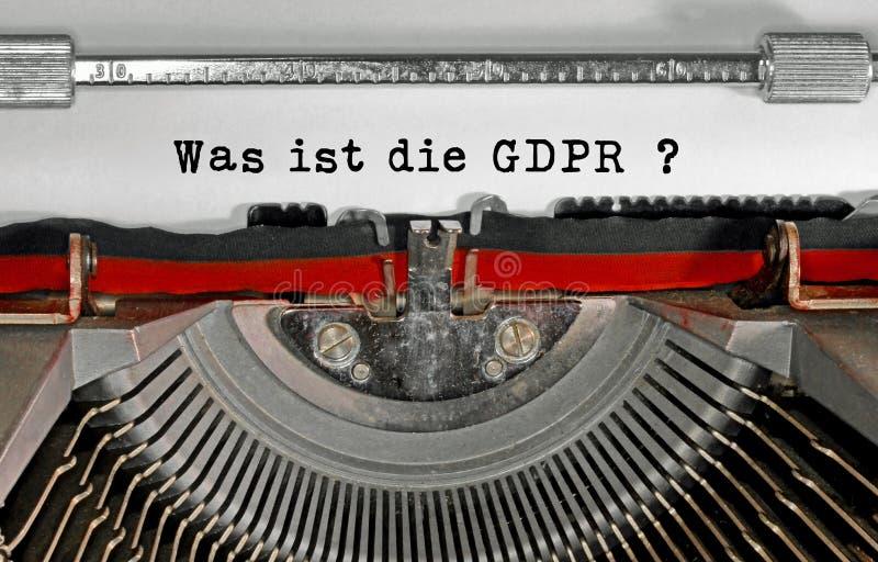 Var ist dör GDPR-text i tysk som betyder vad är GDPR-genen royaltyfri bild