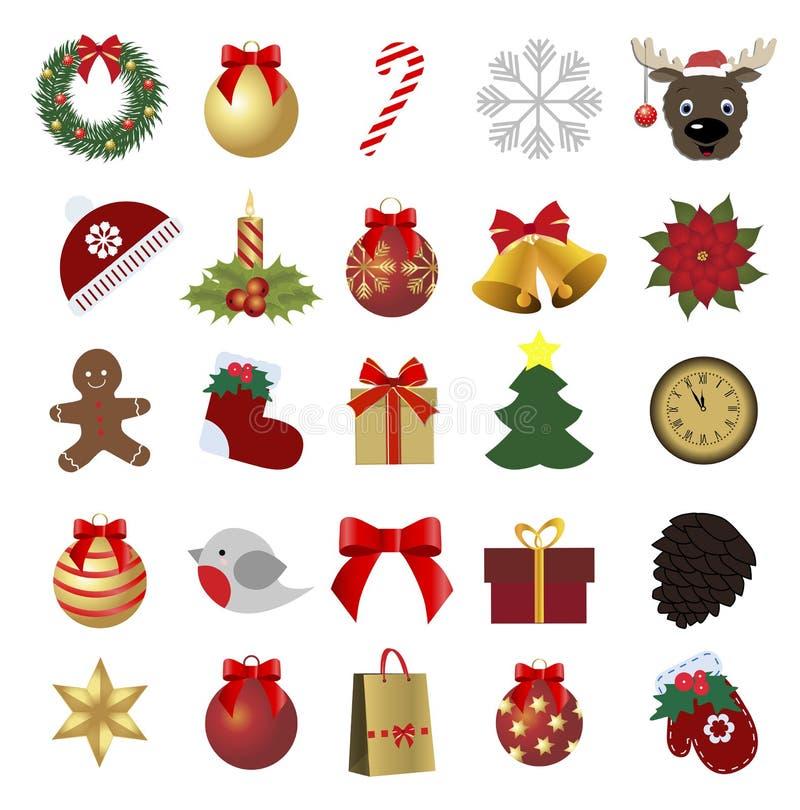 var kan den jul färgade designsymbolsillustrationen ställa in använde ditt Samling av ferieetiketter stock illustrationer