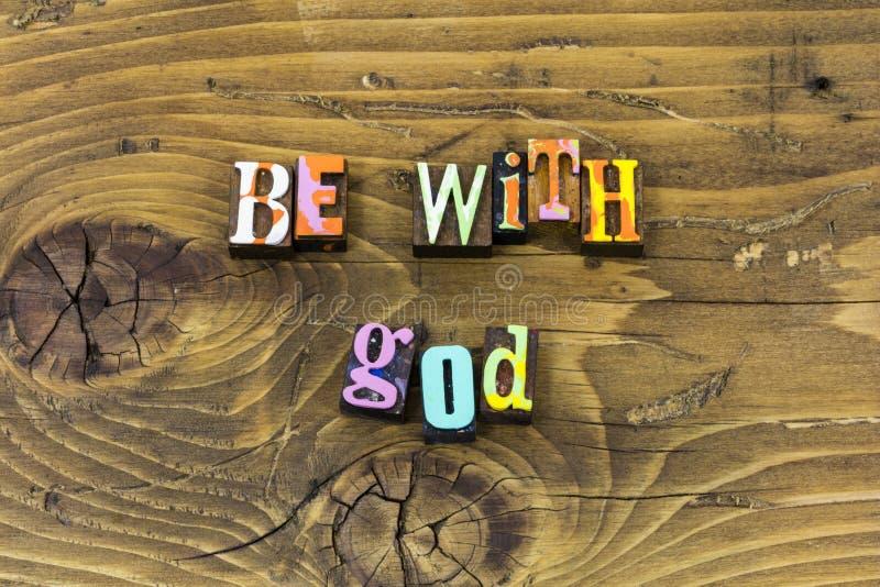 Var med trycket för typografi för glädje för förtroende för religionen för gudlordtro royaltyfri fotografi
