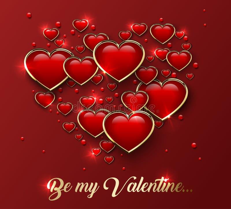 Var min Valentine Greeting Card med glansig hjärta 3d i guld- ram och ljus effekt vektor illustrationer