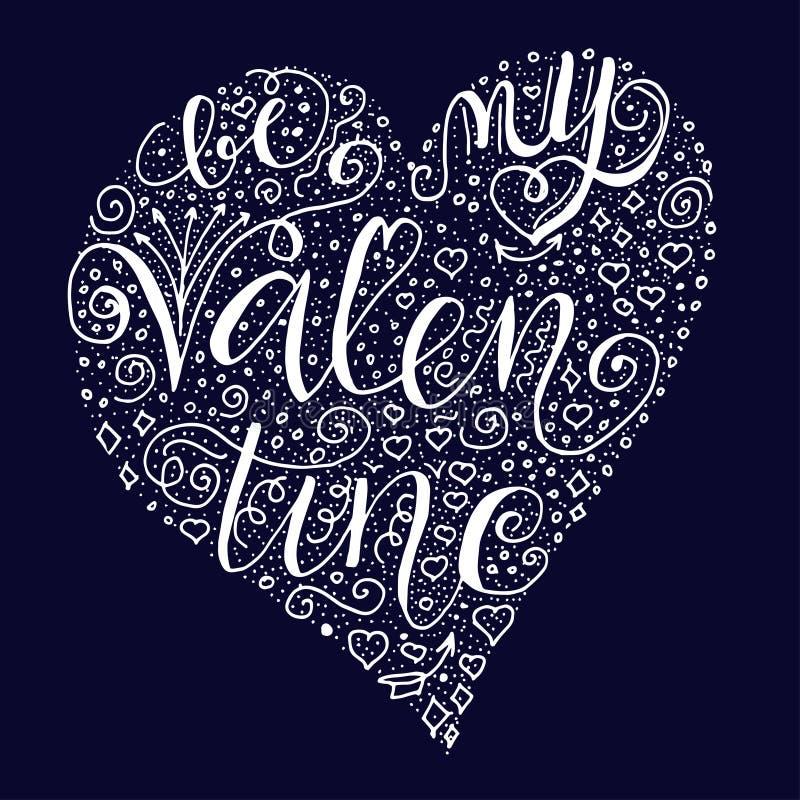 Var mitt valentincitationstecken på mörkt - blå bakgrund royaltyfri illustrationer