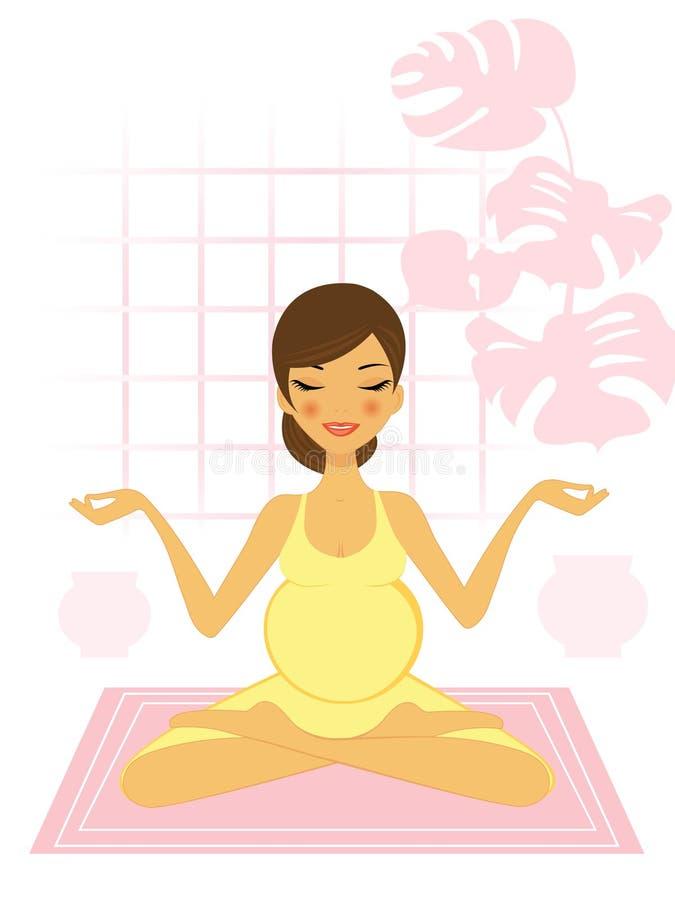 var momen som praticing till yoga royaltyfri illustrationer