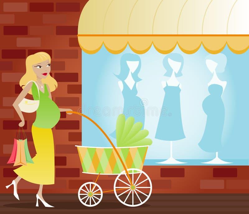 var momen som shoppar till royaltyfri illustrationer