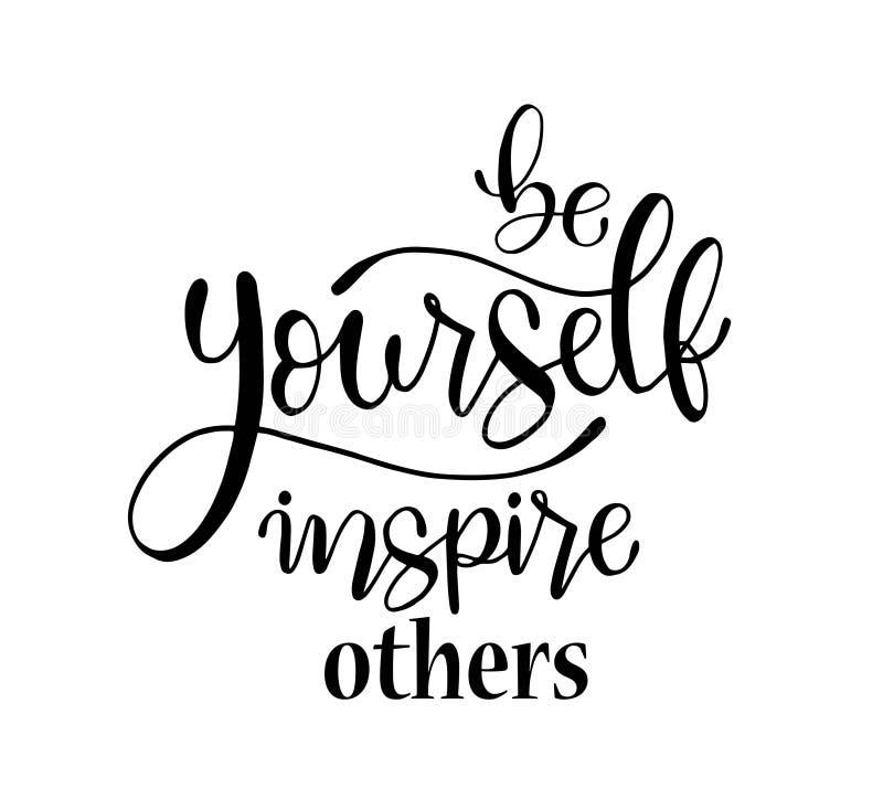 Var själv att inspirera andra, handen som märker det positiva citationstecknet för för den inskrifttext, motivationen och inspira vektor illustrationer