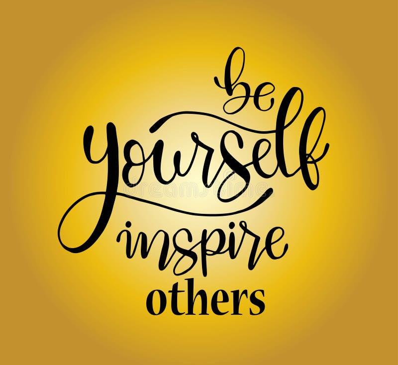 Var själv att inspirera andra, handen som märker det positiva citationstecknet för för den inskrifttext, motivationen och inspira stock illustrationer