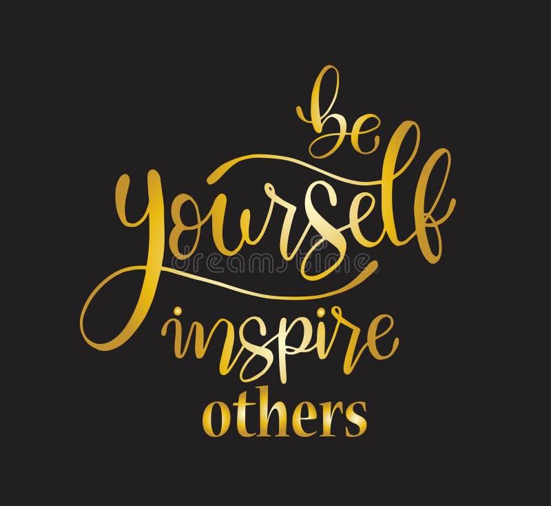 Var själv att inspirera andra, handen som märker det positiva citationstecknet för för den inskrifttext, motivationen och inspira royaltyfri illustrationer
