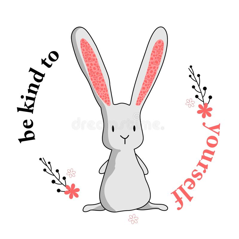 Var snäll till själv kaninen royaltyfri illustrationer