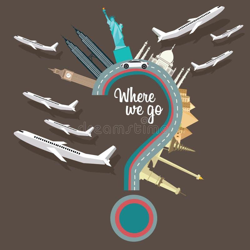 Var till oss gå att resa för frågefläcken för ställen den plana illustrationen för vektorn för destinationen för flyget runt om v royaltyfri illustrationer
