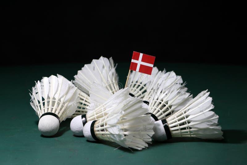 Vara da bandeira de Mini Denmark no montão de petecas usadas no assoalho verde da corte de badminton fotografia de stock