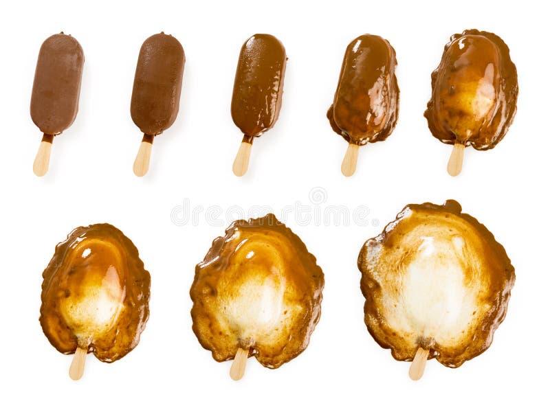 Vara de derretimento do gelado do chocolate e da baunilha imagem de stock