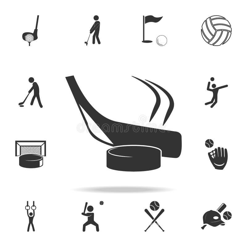 Vara de hóquei e ícone da arruela Grupo detalhado de ícones dos atletas e dos acessórios Projeto gráfico da qualidade superior Um ilustração stock