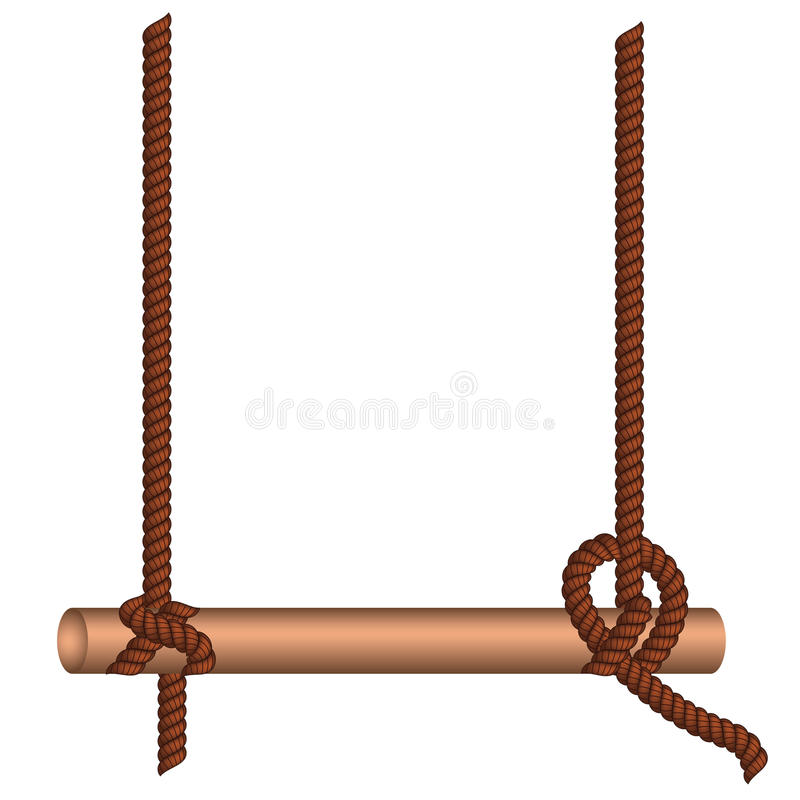 Vara de madeira em uma corda ilustração stock