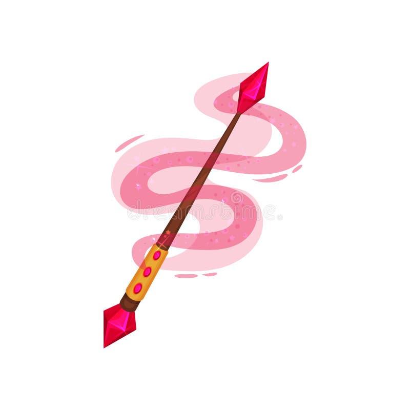 Vara de madera adornada con las piedras preciosas Palillo mágico con tema rosado de la brujería del polvo Icono plano del vector libre illustration