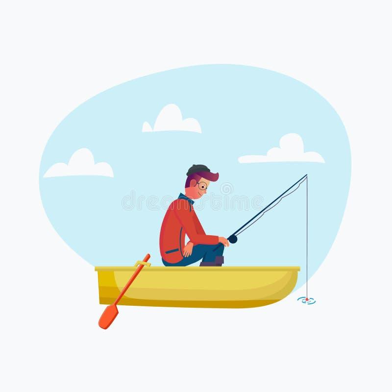 Vara de pesca no barco, pesca da terra arrendada do homem de Fisher da estação Personagem de banda desenhada do vetor no feriado, ilustração stock