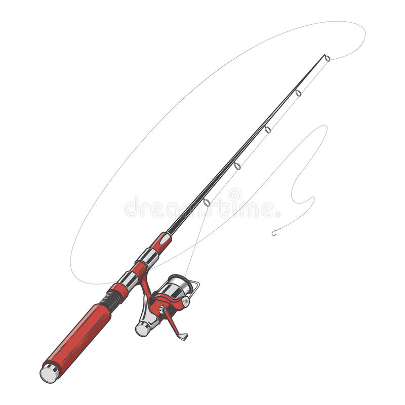 Vara de pesca vermelha, girando com a isca isolada em um fundo branco Linha arte da cor Projeto retro ilustração royalty free