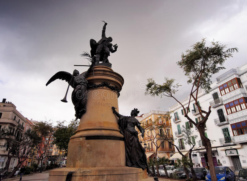 Vara DE Rey Monument in Ibiza-Stad stock afbeelding
