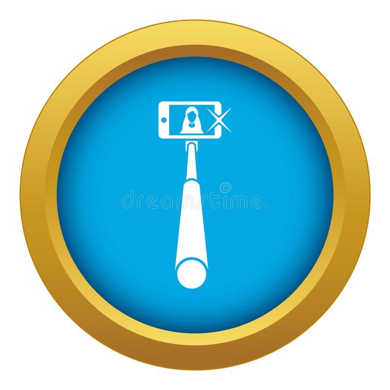 Vara de Selfie com vetor azul do ícone do telefone celular isolada ilustração royalty free