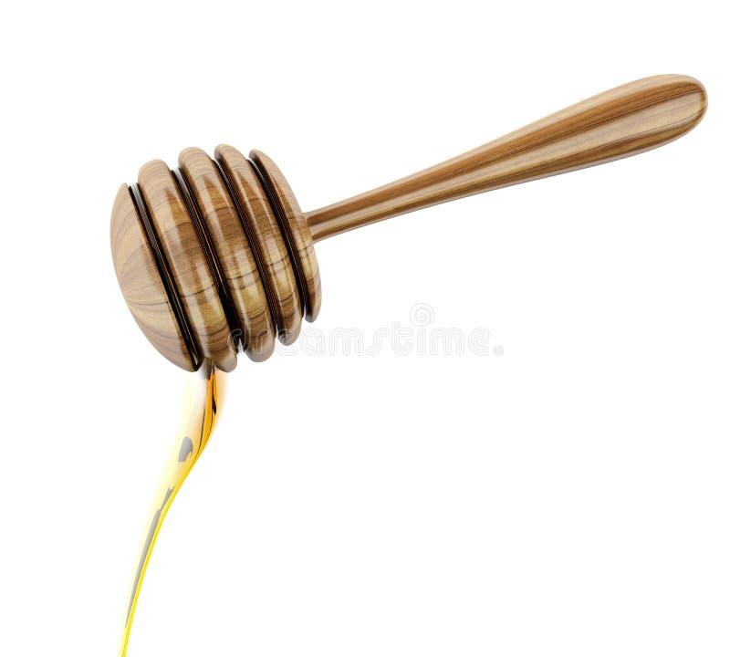 vara do mel 3d com mel do gotejamento ilustração do vetor