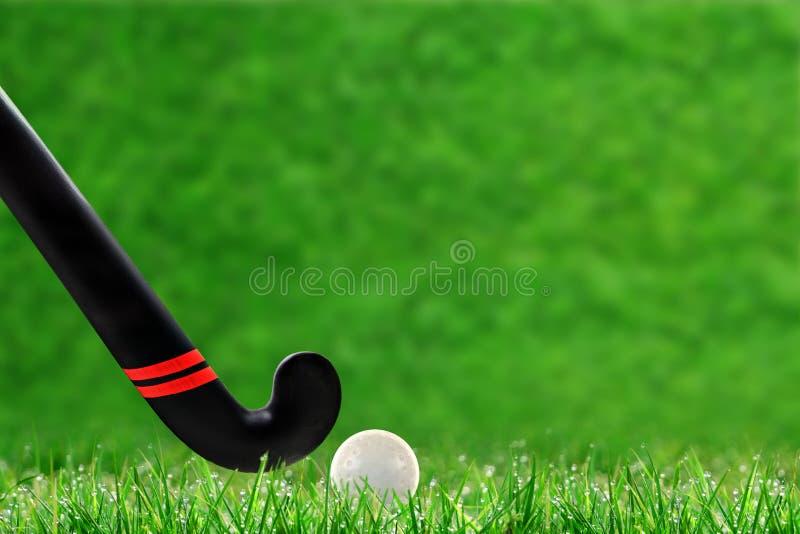 Vara e bola de hóquei em campo na grama com espaço da cópia fotografia de stock royalty free