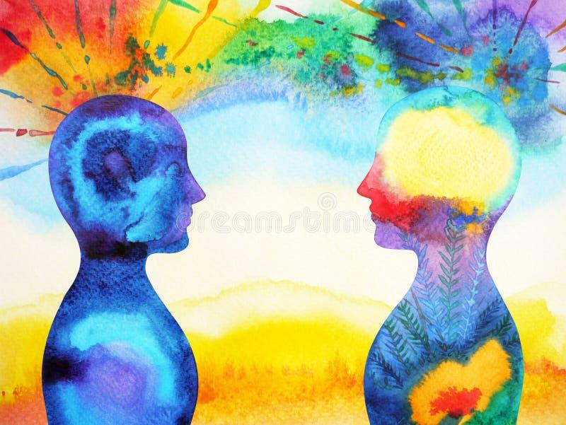 Vara hjärnan bakom chakramakt, abstrakt tanke för inspiration tillsammans royaltyfri illustrationer