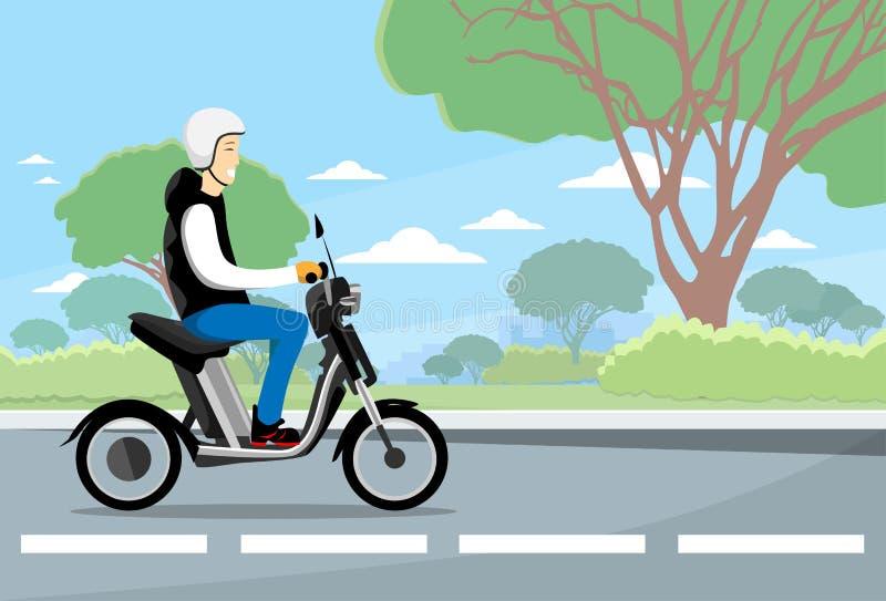 Vara nedstämd elektrisk sparkcykel för man ritt, motorcykel som bär Hemlet naturbakgrund royaltyfri illustrationer