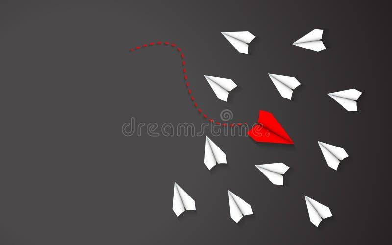 Vara olikt av rött begrepp för pappers- flygplan mellan vitbokflygplanet Ledarskap och gå i ett olikt riktningstema stock illustrationer